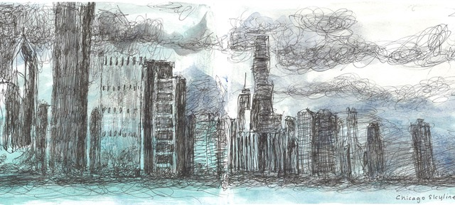 drawing of chicago skyline