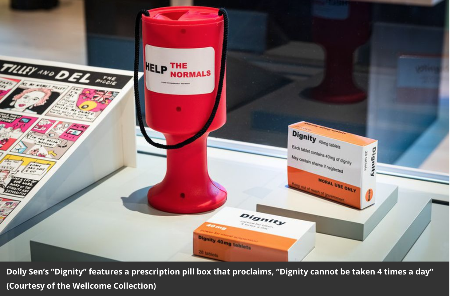 """A picture of a red plastic charity tin saying 'Help the Normals' and 2 boxes of Dignity pills that say """"Dignity cannot be taken 4 times a day"""" The credit in the photo says Dolly' Sen's '""""Dignity"""" is shown (Courtesy of the Wellcome Collection)."""