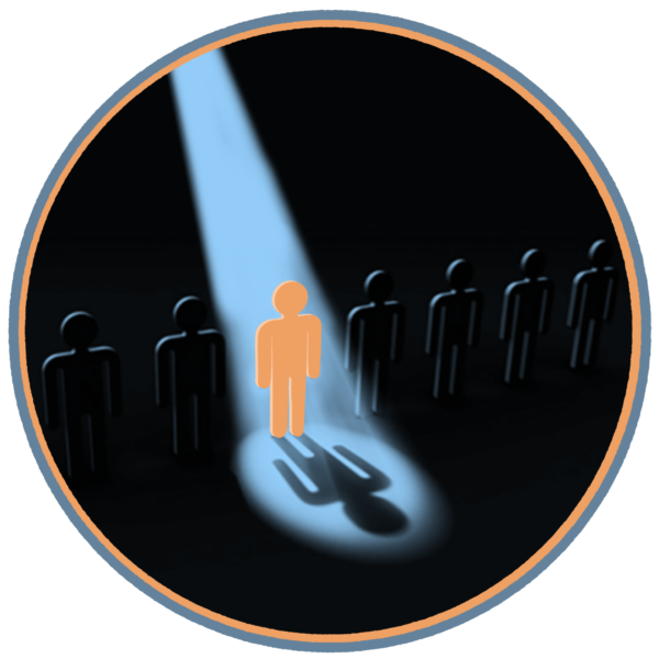 Illustration of line of dark people-shaped cut-outs, spotlight on one orange cut-out