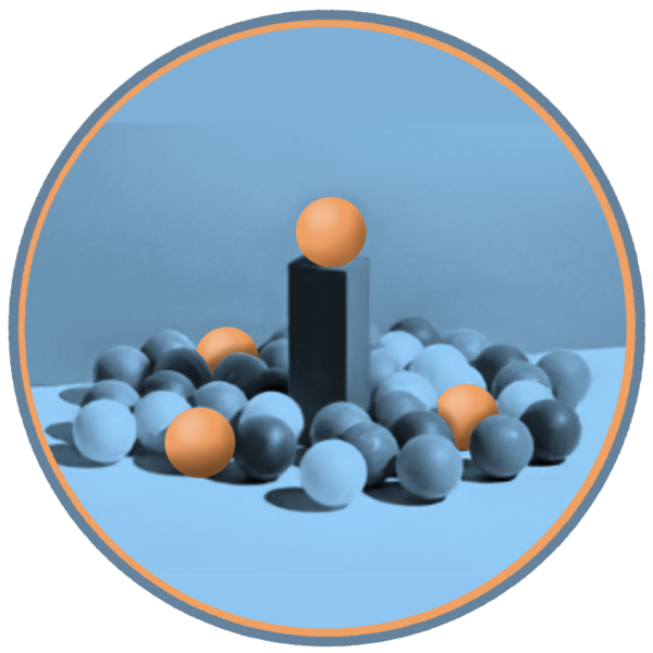 Pillar with ball on the top, surrounded by many other balls
