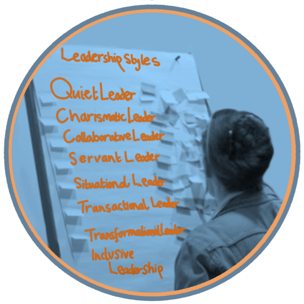A person writes on a flip chart, listing the eight leadership styles