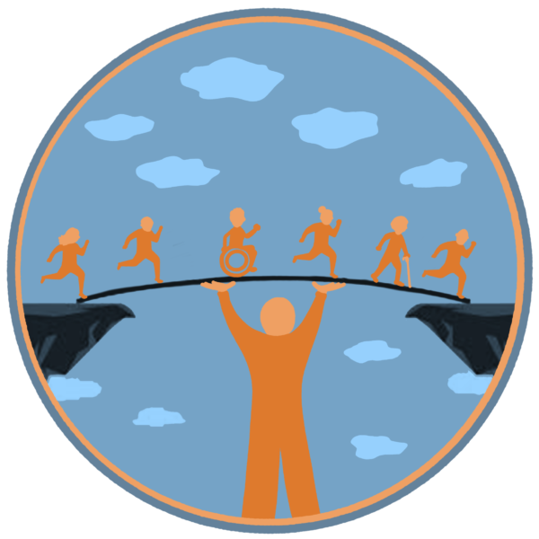 Drawing of person holding up bridge with small people crossing over