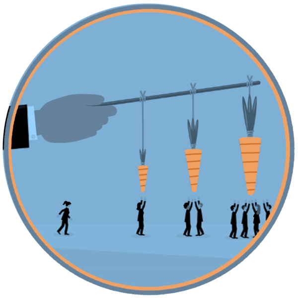 Hand holding a stick with carrots dangling from it, small people are reaching up from under the carrots
