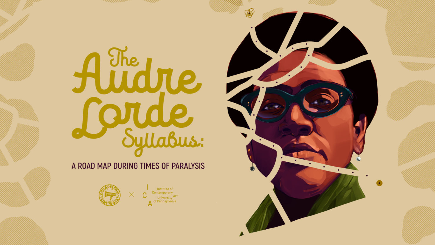 A picture of Audre Lorde a grid of roads across there face