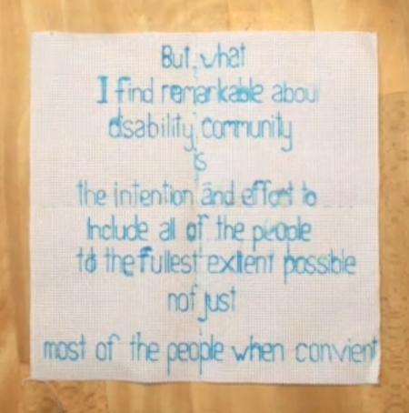 A screengrab of Kelsie's embroidery work.